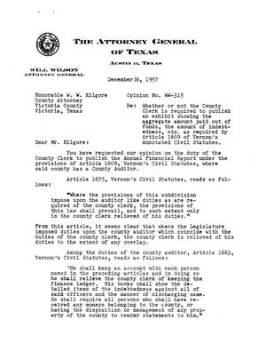 Primary view of object titled 'Texas Attorney General Opinion: WW-315'.