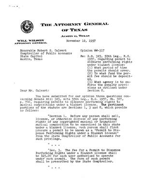Primary view of object titled 'Texas Attorney General Opinion: WW-317'.