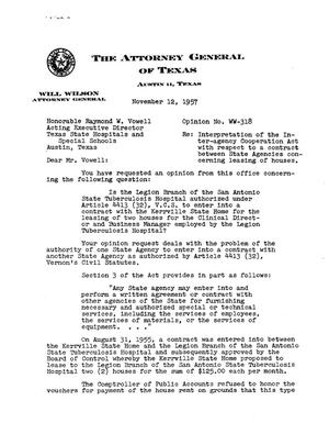 Primary view of object titled 'Texas Attorney General Opinion: WW-318'.