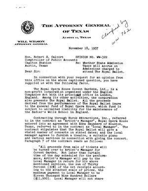 Primary view of object titled 'Texas Attorney General Opinion: WW-322'.
