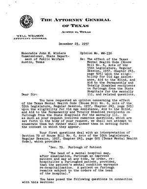 Primary view of object titled 'Texas Attorney General Opinion: WW-330'.