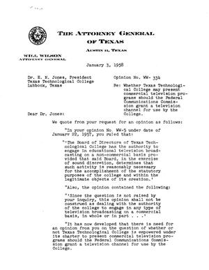 Primary view of object titled 'Texas Attorney General Opinion: WW-334'.