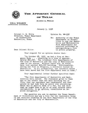 Primary view of object titled 'Texas Attorney General Opinion: WW-336'.