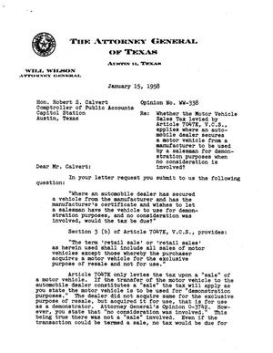 Primary view of object titled 'Texas Attorney General Opinion: WW-338'.