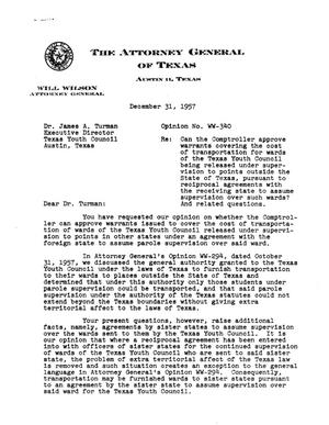 Primary view of object titled 'Texas Attorney General Opinion: WW-340'.