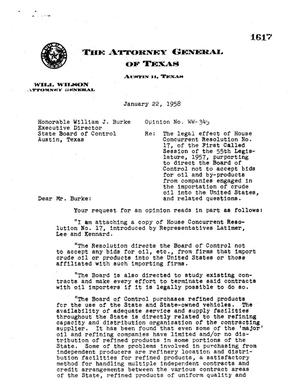 Primary view of object titled 'Texas Attorney General Opinion: WW-345'.