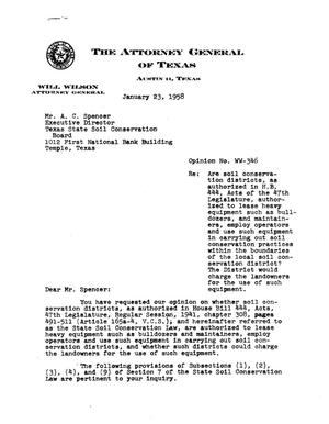 Primary view of object titled 'Texas Attorney General Opinion: WW-346'.