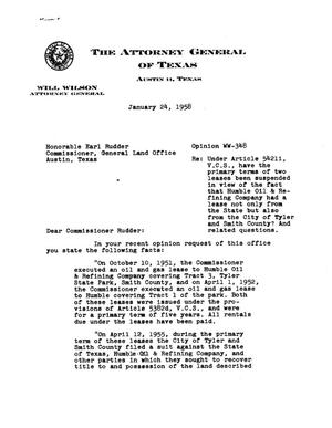 Primary view of object titled 'Texas Attorney General Opinion: WW-348'.