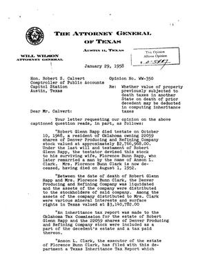 Primary view of object titled 'Texas Attorney General Opinion: WW-350'.