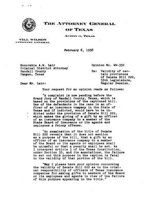 Primary view of object titled 'Texas Attorney General Opinion: WW-352'.