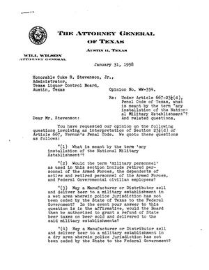 Primary view of object titled 'Texas Attorney General Opinion: WW-354'.