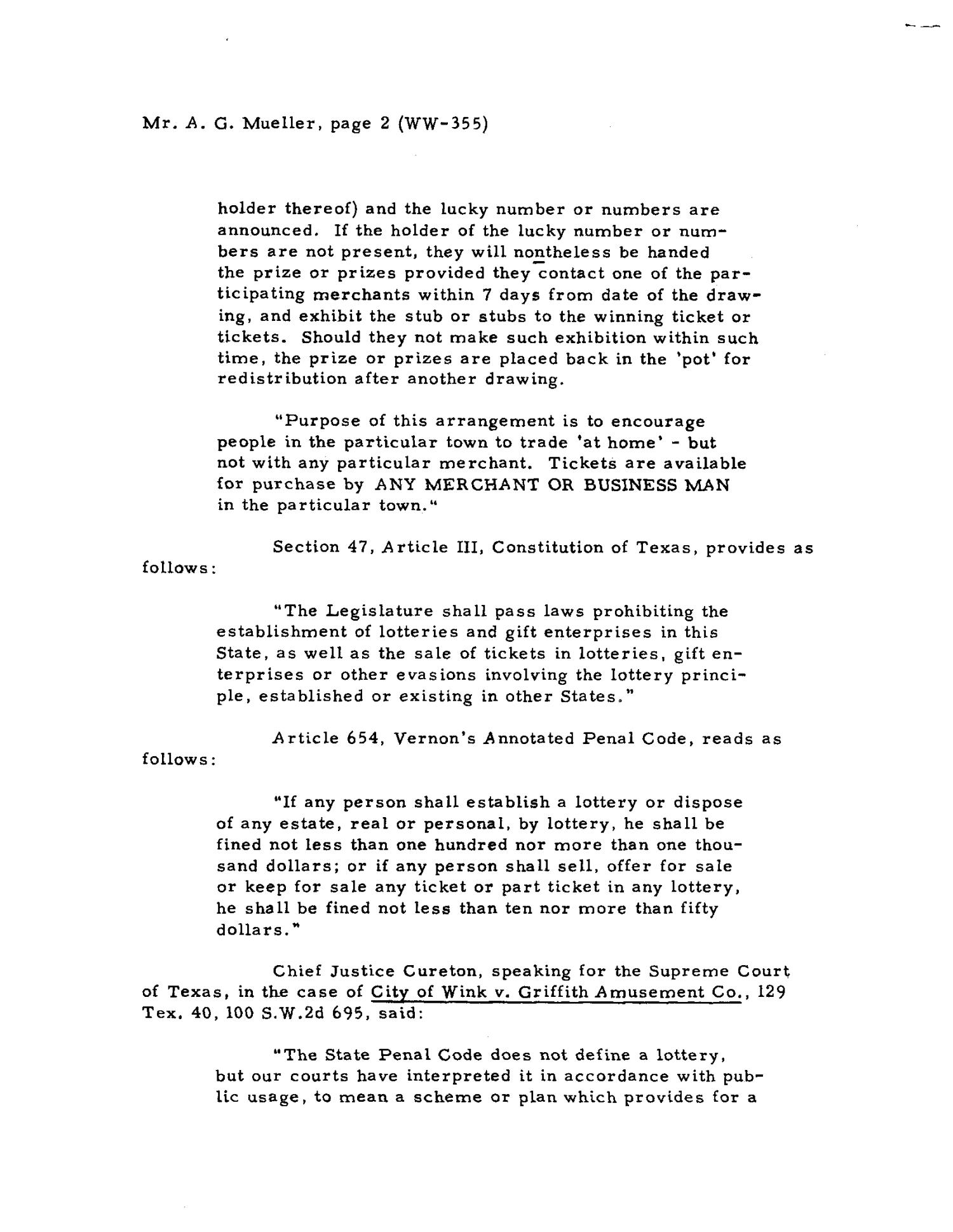 Texas Attorney General Opinion: WW-355                                                                                                      [Sequence #]: 2 of 8