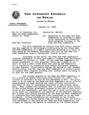 Primary view of object titled 'Texas Attorney General Opinion: WW-357'.