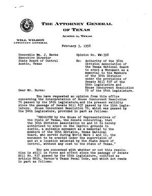 Primary view of object titled 'Texas Attorney General Opinion: WW-358'.