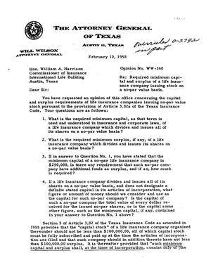 Primary view of object titled 'Texas Attorney General Opinion: WW-360'.