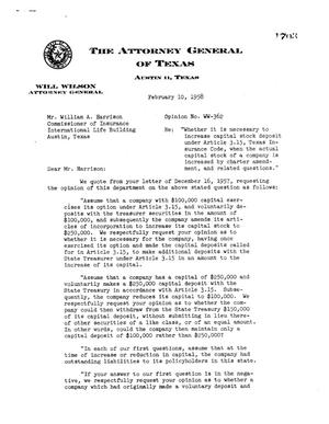 Primary view of object titled 'Texas Attorney General Opinion: WW-362'.