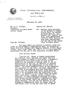 Primary view of object titled 'Texas Attorney General Opinion: WW-378'.