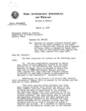 Primary view of object titled 'Texas Attorney General Opinion: WW-383'.