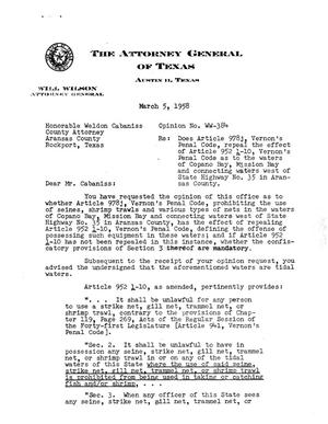 Primary view of object titled 'Texas Attorney General Opinion: WW-384'.