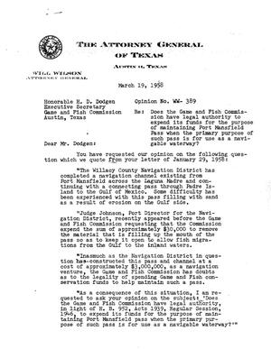 Primary view of object titled 'Texas Attorney General Opinion: WW-389'.