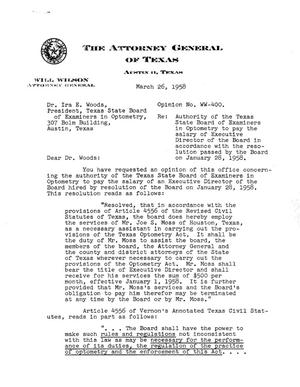 Primary view of object titled 'Texas Attorney General Opinion: WW-400'.