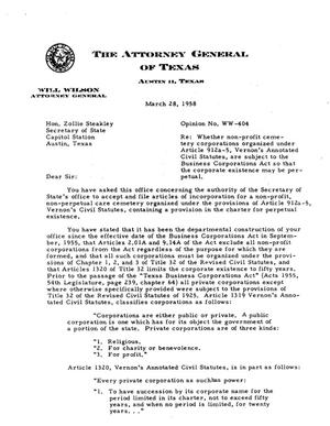 Primary view of object titled 'Texas Attorney General Opinion: WW-404'.