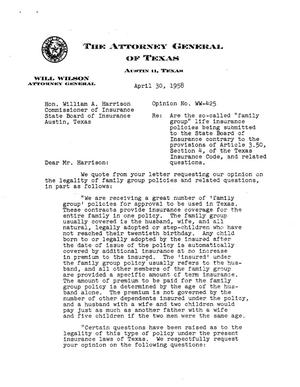 Primary view of object titled 'Texas Attorney General Opinion: WW-425'.