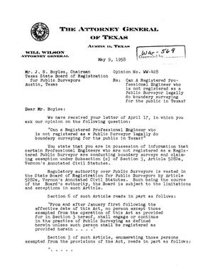 Primary view of object titled 'Texas Attorney General Opinion: WW-428'.