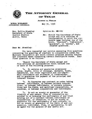 Primary view of object titled 'Texas Attorney General Opinion: WW-440'.