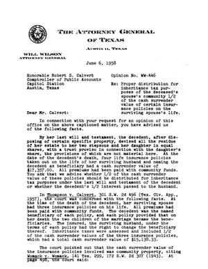 Primary view of object titled 'Texas Attorney General Opinion: WW-446'.
