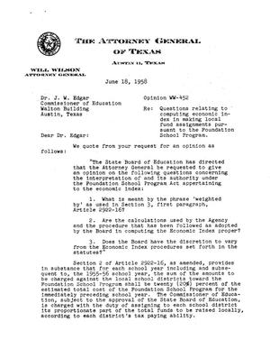 Primary view of object titled 'Texas Attorney General Opinion: WW-452'.