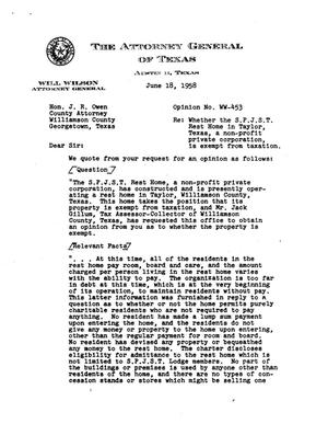 Primary view of object titled 'Texas Attorney General Opinion: WW-453'.