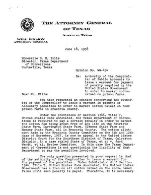 Primary view of object titled 'Texas Attorney General Opinion: WW-454'.