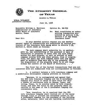 Primary view of object titled 'Texas Attorney General Opinion: WW-459'.