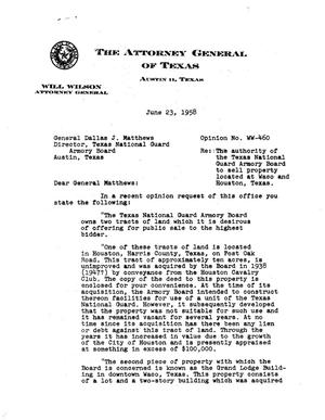 Primary view of object titled 'Texas Attorney General Opinion: WW-460'.