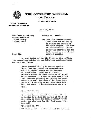 Primary view of object titled 'Texas Attorney General Opinion: WW-462'.