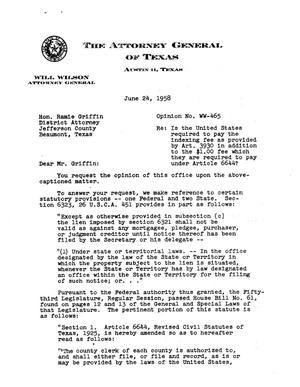 Primary view of object titled 'Texas Attorney General Opinion: WW-465'.