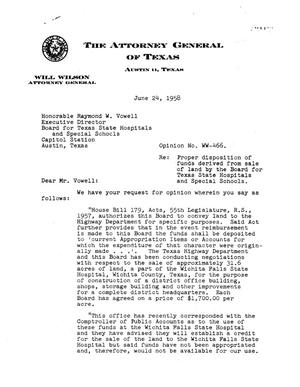Primary view of object titled 'Texas Attorney General Opinion: WW-466'.