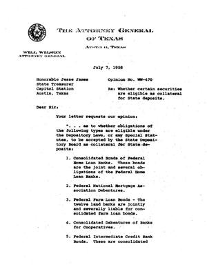 Primary view of object titled 'Texas Attorney General Opinion: WW-470'.