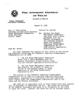 Primary view of object titled 'Texas Attorney General Opinion: WW-485'.