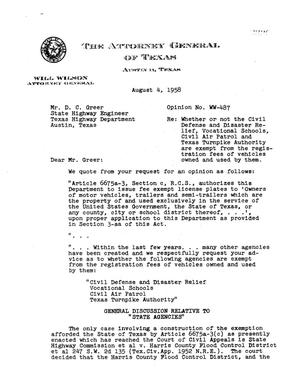 Primary view of object titled 'Texas Attorney General Opinion: WW-487'.