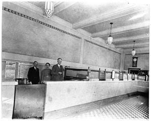 Primary view of object titled '[First National Bank lobby]'.