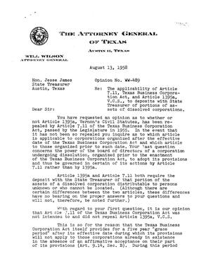 Primary view of object titled 'Texas Attorney General Opinion: WW-489'.