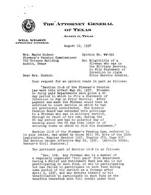 Primary view of object titled 'Texas Attorney General Opinion: WW-491'.