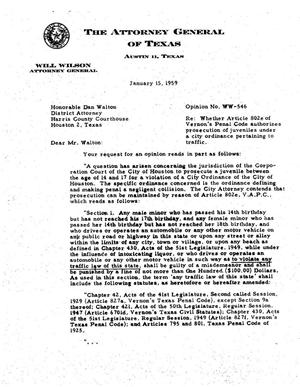 Primary view of object titled 'Texas Attorney General Opinion: WW-546'.