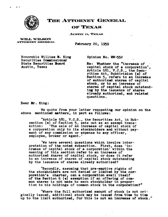 Texas Attorney General Opinion: WW-552 - The Portal to Texas