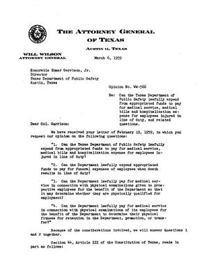 Primary view of object titled 'Texas Attorney General Opinion: WW-566'.