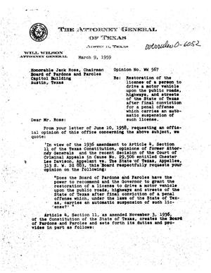 Primary view of object titled 'Texas Attorney General Opinion: WW-567'.