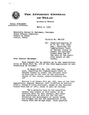 Primary view of object titled 'Texas Attorney General Opinion: WW-568'.