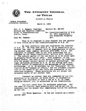 Primary view of object titled 'Texas Attorney General Opinion: WW-570'.